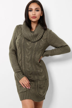 ' Amber ' khaki roll neck jumper dress - Bikini Genie