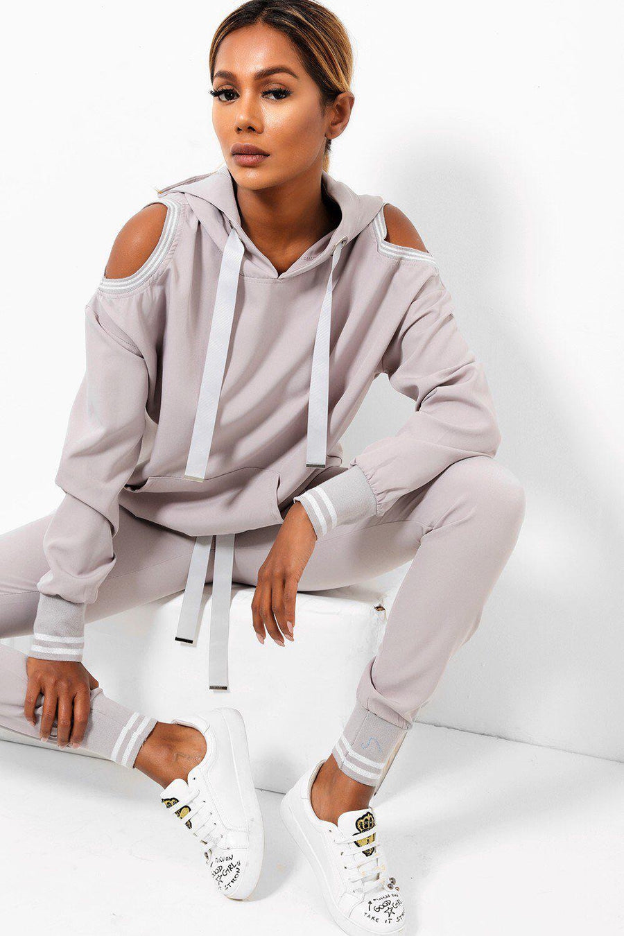 'Alesha' cold shoulder grey tracksuit.