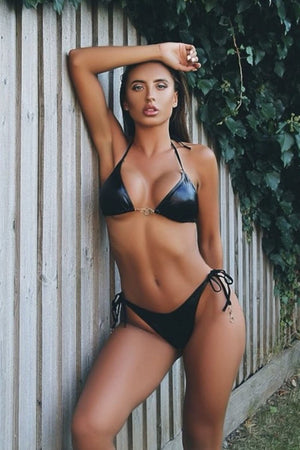 'Lady Danger' Leather look handcuff bikini