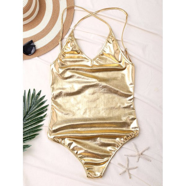 'Queen B ' Gold Metallic One Piece - Bikini Genie