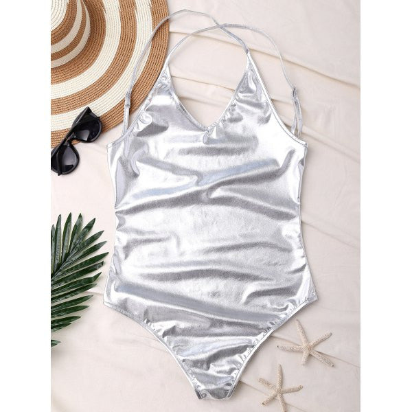 'Queen B ' Silver Metallic One Piece