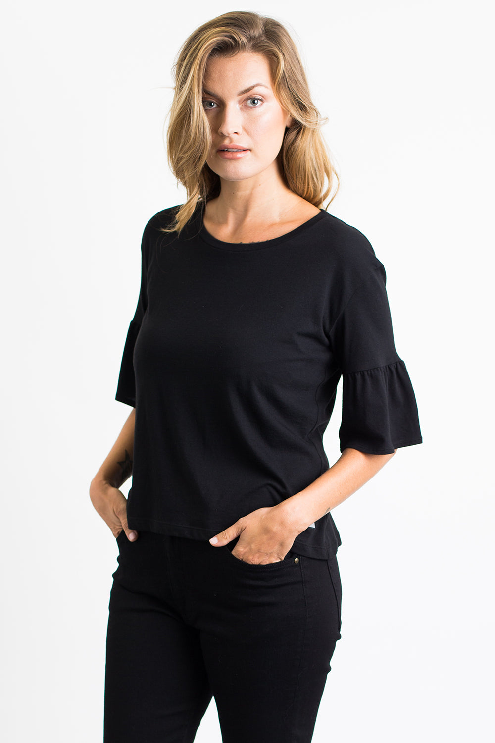 Women's 3/4 Ruffle Sleeve Tee