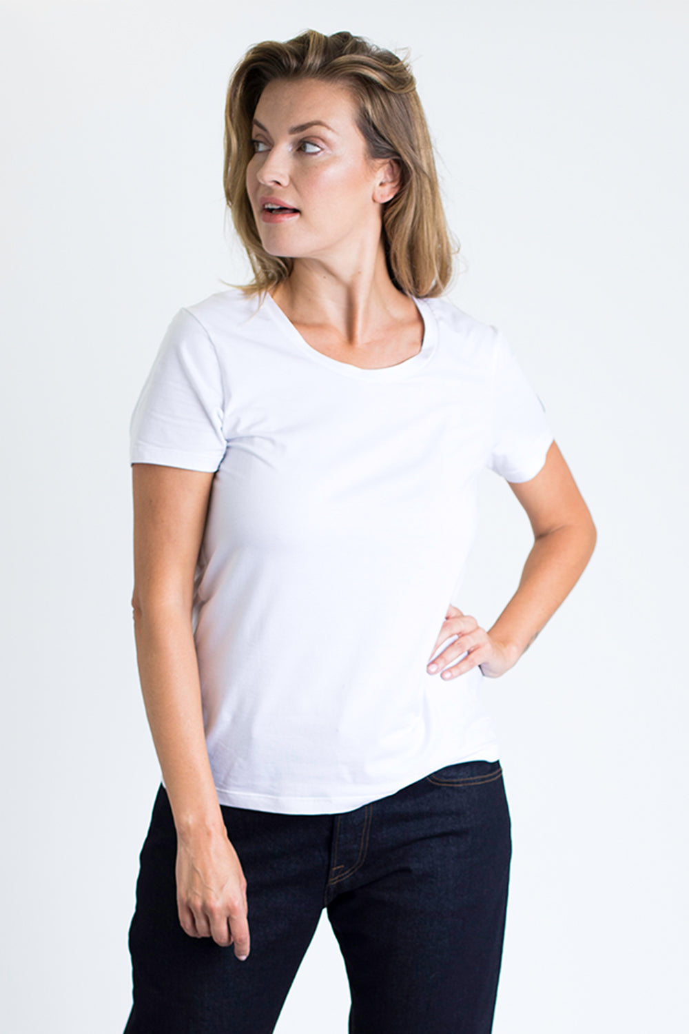 Women's Crew Neck Tee (White)