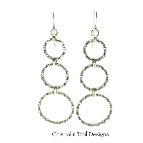 Triple Graduated Argentium Silver Beaded Hoop Earrings