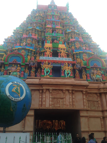 Pandal stylized as a South Indian Temple
