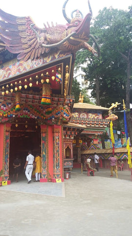 Pandal designed to look like a Buddhist temple