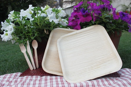 Mana Areca Palm Leaf Plates with flowers