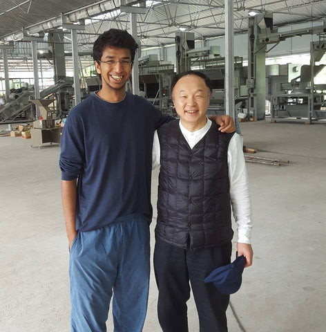 Mritunjay Jalan with Shoji Hara at the Green Tea Factory at Chota Tingrai Tea Estate