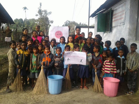 Students participate in a clean up drive as part of their school curriculum