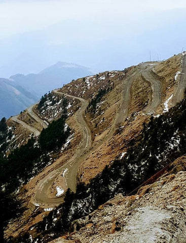 Switch backs climbing the Purvanchal Mountains
