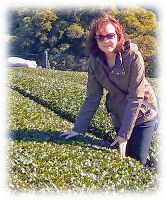 Heather of the Jasmine Pearl Tea Shop in an organic Tea Garden.