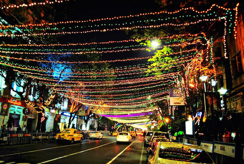 Christmas decorations on Park Street in Kolkata, 2017