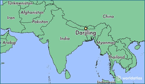 Map of south Asia with Darjeeling Clearly Marked