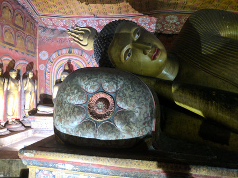 Reclining Buddha sculpture in Dambulla Cave Temple