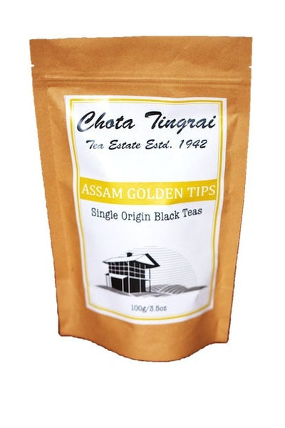 Assam Golden Tips package front - direct from Chota Tingrai Tea Estate