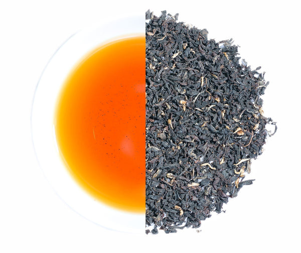 Mana Organics Loose Leaf Tippy Golden Flower Orange Pekoe tea with its liquors as half circles