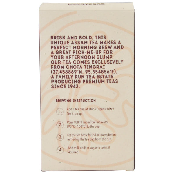 Mana Organics Organic Black Tea Bags Back Panel