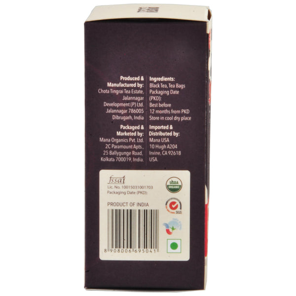 Mana Organics Organic Black Tea Bags Box side panel with barcode