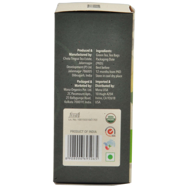 Mana Organics Organic Green Tea Bags Side Panel with Barcode