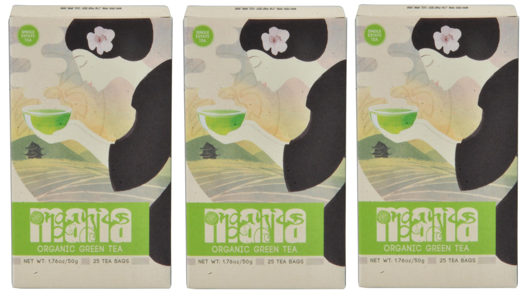 Mana Organics Organic Green Tea Bags Box Triple Pack