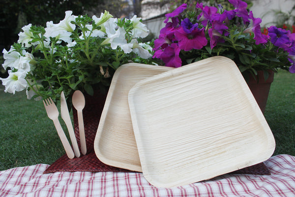 Compostable Disposable Plates, Forks, Knives and Spoons - 10 inch palm leaf plates, biodegradable wooden utensils - 25 Eco-friendly sets