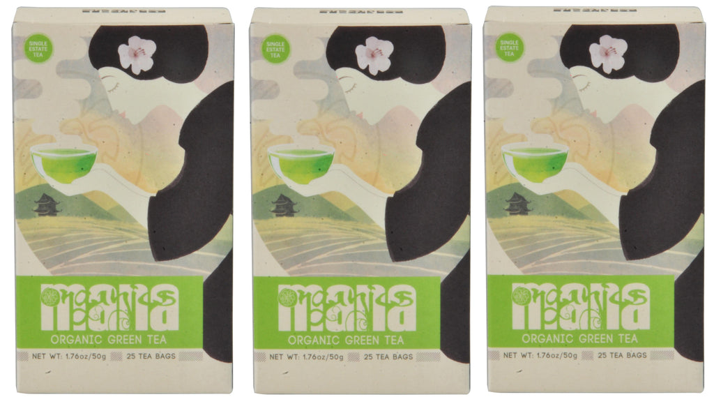 Mana Organics Green Tea Bags Triple Pack (75 Tea Bags, 150 Cups of Tea)