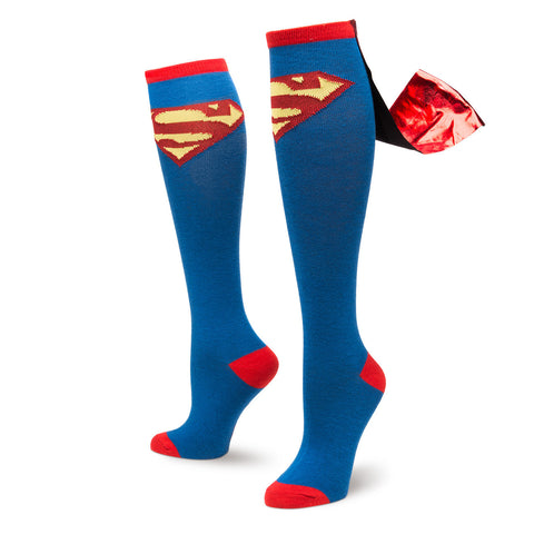 Superman Logo Knee High Shiny Cape Socks