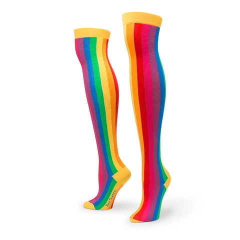 Vertical Rainbow Over the Knee Socks