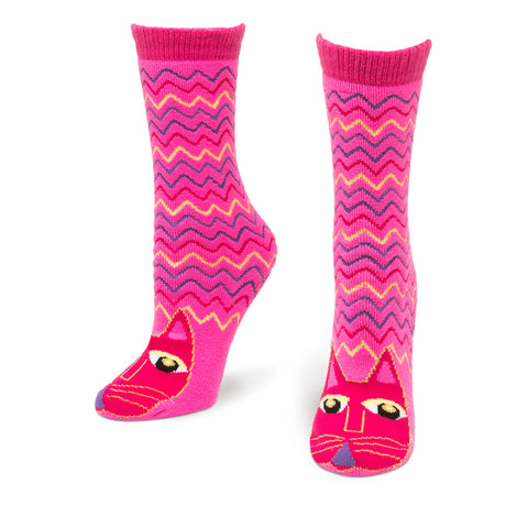 Fuchsia Cat Slipper Socks