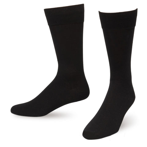 Black Solid Color Men's Dress Socks King Size