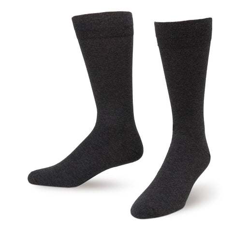 Charcoal Solid Color Men's Dress Socks King Size
