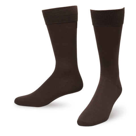 Brown Solid Color Men's Dress Socks