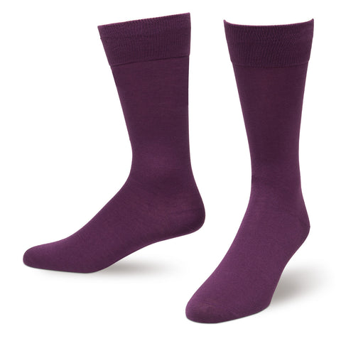 Dark Purple Solid Color Men's Dress Socks