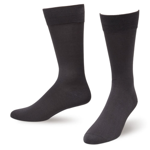 Gray Solid Color Men's Dress Socks