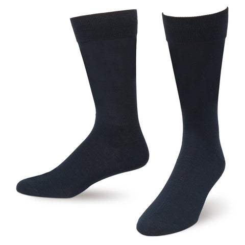 Navy Solid Color Men's Dress Socks King Size