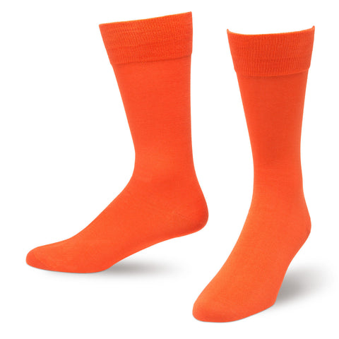 Orange Solid Color Men's Dress Socks