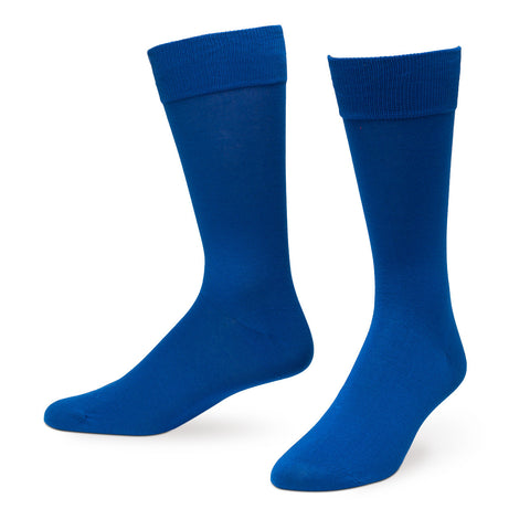 Royal Blue Solid Color Men's Dress Socks