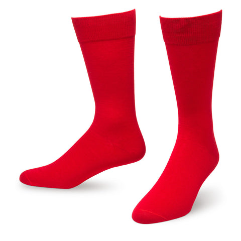 Red Solid Color Men's Dress Socks