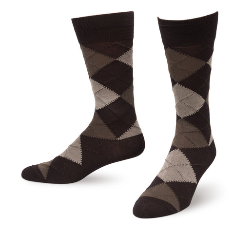 Dark Brown Argyle Men's Dress Socks