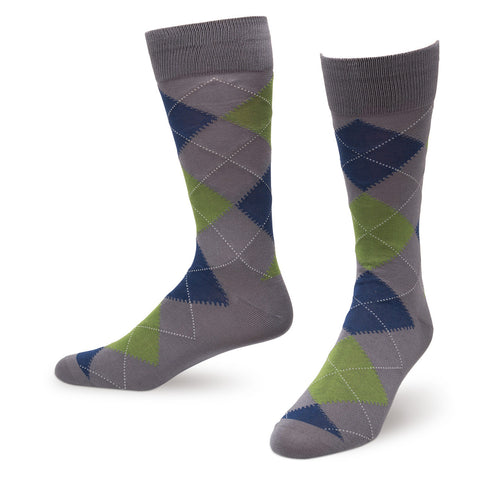 Gray Argyle Men's Dress Socks