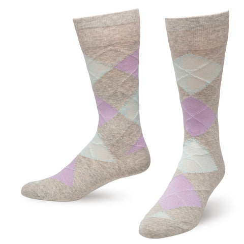 Light Gray rgyle Men's Dress Socks