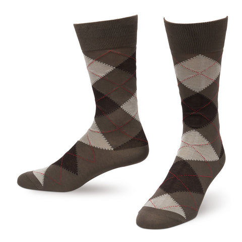 Mocha Argyle Men's Dress Socks