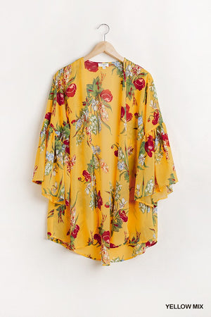 Umgee Floral Print Open Front Kimono With Flowy Sleeves