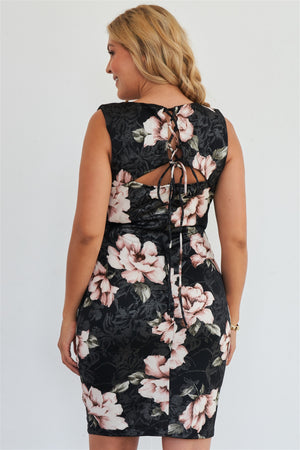 Boutique Love Tree Plus Size Silver Pink Floral Print Bodycon Lace Up Back Midi Dress