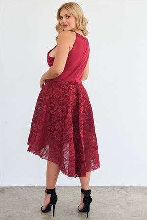 Boutique Love Tree Plus Size Cabernet Hi Lo Floral Lace Maxi Dress