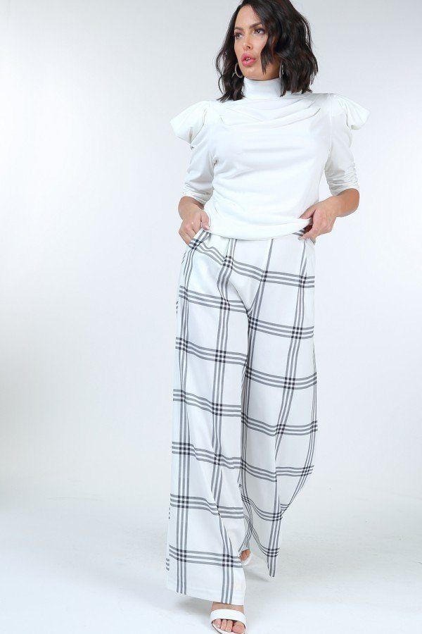 Boutique Love Tree High Waist Plaid Print Wide Leg Pants