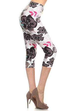 High Waisted Floral Printed Knit Capri Legging