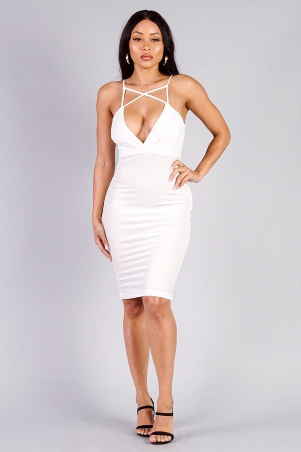Cefian Boutique Ivory Spaghetti Strap Crossover Front Velvet Bodycon Dress
