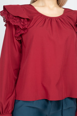 Iris Boutique Red Balloon Sleeve Lace Ruffle Top