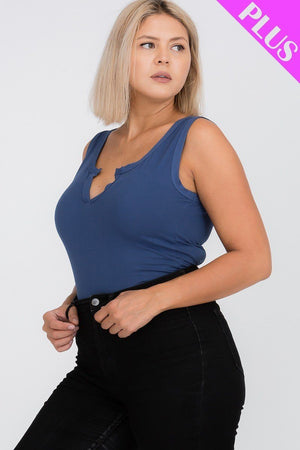 Capella Plus Size Blue Haze Split Neckline Bodysuit Top